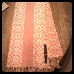 Coach Pink and Cream wool scarf